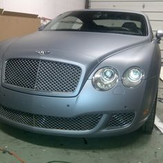 Bently Continental GT wrapped in 3M 1080 matte silver vinyl
