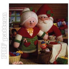 Santa, Mrs Claus and 7 Little Dolls Knitting Pattern