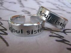 Sister Jewelry, Soul Sister, Set of 2, Sister, Sister Rings, Sisters, Soul sister ring, BFF ring, Personalized rings, Gifts for Best Friends on Etsy, $12.00