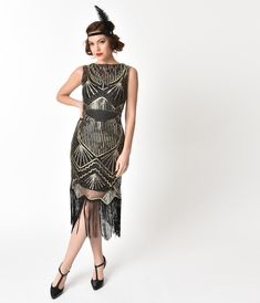 4cd932717e55 Black   Gold Sequin Therese Long Flapper Dress