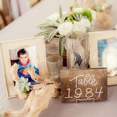 """What a great #reception idea! Name the tables after years with significance and fill the table with old snapshots! Photo by @figlewiczphotography,…"""
