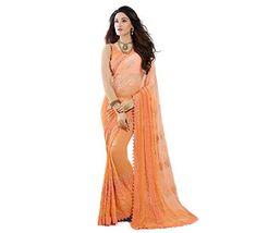 11c8d5c32 Craftsvilla Chiffon Saree with Blouse Piece (FKMS207-9007 Orange Free Size)