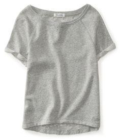 Cropped Lace-Back Fleece Tee - Aeropostale