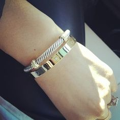 Simple jewelry today. Just @davidyurman #rope and @thatsfoxyfashion #screw snap #gold (gift from @kjming) #highlow #thatsfoxy #jewelry #mixmetals #fashion #style #everydaygirl
