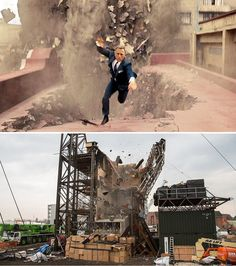 Spectre (2015) - TOP: a building collapses around Daniel Craig as he falls floor-by-floor to the ground in a scene created to look like Mexico City BOTTOM: Actually a scaffold-supported structure built at Pinewood Studios in Buckinghamshire created the illusion.