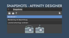 In diesem Quicktip zeige ich dir die Funktion von Snapshots in Affinity Designer. Snapshots eignen sich hervorragend zum speichern einzelner Entwicklungsstände einer Affinity Designer Arbeit. Mit ihnen kannst du jederzeit zu einem gespeicherten Entwicklungsschritt deiner Arbeit zurückkehren und sogar aus einem ausgewählten Entwicklungsschritt ein neues Dokument erstellen.