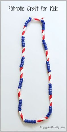 Great fine motor craft for toddlers! (4th of July Craft for Kids: Patriotic Necklace~ Buggy and Buddy)