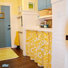 So Cute Laundry Room - hides the washer & dryer with a skirt. {Better After: Detective Detergent}