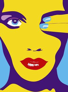 Pop Art Red Lips, Blue Manicure Woman