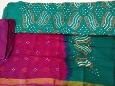 Green and Pink Red multicolour Jaipuri print unStitched Salwar Suit dupatta