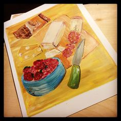 """Cheese and fruit. """"How to Become a Professional Picnicker."""" #howtobecomeaprofessionalpicnicker #jesswatsonartist"""