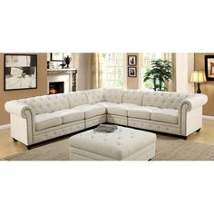 Kick up the style and comfort quotient in your home with the Furniture of America Starken II Upholstered Sectional Sofa . This plush, cushioned sectional. Tufted Sectional Sofa, Deep Sectional, Fabric Sectional, Small Sectional, Sectional Furniture, Furniture Chairs, Couches, Outdoor Furniture, Sofa Design