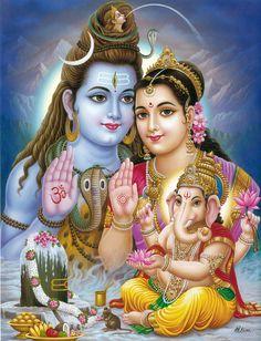 Ganesha Propitiates Shiva and Parvati (Reprint on Paper - Unframed)