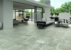Want to bring a fresh new look into your home? Look no further than these stylish Smoked Embers Tiles. They have an atmospheric blended design, with a mid-grey tone, and are part of our collection of Foundry Concrete Effect Tiles. Garden Tiles, Concrete Garden, Outdoor Tiles, Outdoor Rooms, Outdoor Living, Patio Plus, Exterior Tiles, Exterior Design, Doors And Floors