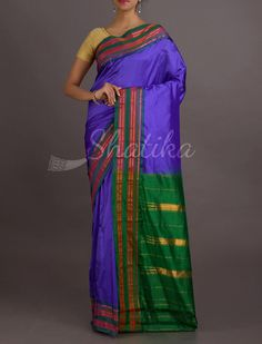 Darshana Inked In Purple Stripe Gold Border Pure #NarayanpetSilkSaree