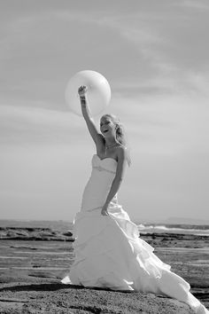 Shelley and Nathan ~ Happy Bride and a Balloon. Central Coast Summer Beach Wedding at Budgewoi Beach and Norah Head Lighthouse | Sydney Wedding Photographer dylanmartinphotography.com