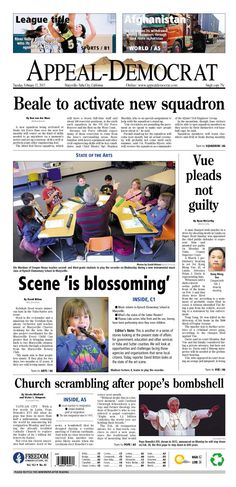 Appeal-Democrat front page for Tuesday, February 12, 2013.