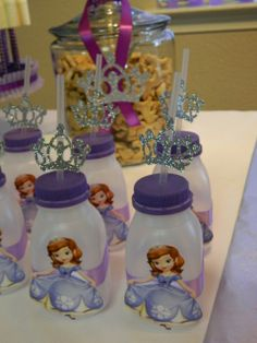 Crown topped drinks at a Sofia the First party.   See more party ideas at CatchMyParty.com.  #sofiathefirstpartyideas