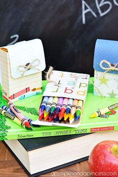 "back to school crafts: Adorable Crayon Box ""Backpacks"" from apumpkinandaprincess.com"