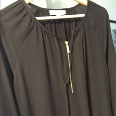 NEW Michael Kors zip top! New! ❤️ Adorable gold zipper top with gold tassel ties. Sheer with a cotton knit lining and 3quarter sleeves it's a MUST HAVE for Fall! New without tags, NEVER WORN.  Michael Kors Tops