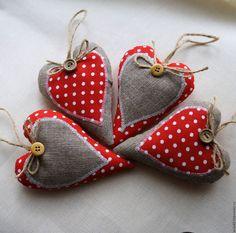 Купить Сердечки в горошек - ярко-красный, сердечки текстильные, сердечки валентинки, подарок подруге, валентинка