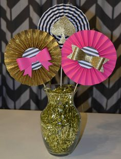 Black Hot Pink and Glittery Gold Rosette by LemonSugarStudios