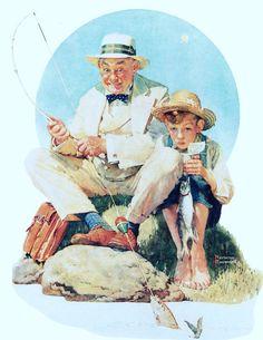 Norman Rockwell Man and Boy Fishing 1929 Print by ThePreciousPast