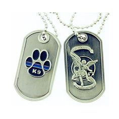 Thin Blue Line K-9 Paw St. Michael Brushed Steel Dog Tag >>> Additional details at the pin image, click it  : Dog tags for pets