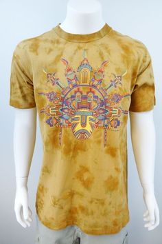 Vintage 90s Native American Indian Tribal Mask Tie Dye T Shirt Large M241 #FruitoftheLoom #GraphicTee