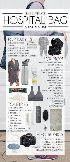 the only Hospital Bag Checklist you need. ultimate list of hospital bag essentials from a mom of 2 - what to pack for the hospital baby stuff What to Pack in Your Hospital Bag: The Ultimate Hospital Bag Checklist Hospital Bag Essentials, Hospital Checklist, New Baby Checklist, Baby Girl Essentials, Hospital List, Baby Hospital Outfit, Hospital Bag For Mom To Be, Mommy Hospital Bag, Newborn Essentials List