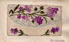 Carte brodée Vintage Shabby Chic, Illustrations, Hand Sewing, Greeting Cards, Antiques, Images, Crafts, Inspiration, Embroidery Ideas