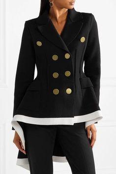 Sonia Rykiel - Double-breasted Asymmetric Wool-blend Jacket - Black