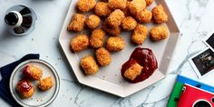 This play on traditional tater tots swaps in cauliflower and carrot for the usual potato, adding a sweet, vegetal flavor and a good dose of fiber, antioxidants, and vitamins. The baked method might be easier (and slightly healthier), but the super-crispy fried method is more finger-licking good. Either way, these tots are the perfect party snack.