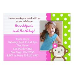 Mod Monkey Girl Birthday Invitation Pink
