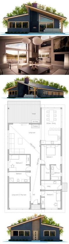 ****floor plan: 3 bdrm good for narrow lot ... change front playroom to bdrm, add bdrm 2 to living room, front enclosed porch, need entry closet, pantry, tub in main bath & shower in master... could add stairs in utility area, bsmnt suite