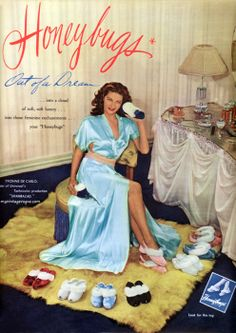 Honey Bugs slipper ad from 1946 featuring actress Yvonne De Carlo.