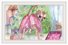 """Original watercolor painting of a Chihuahua puppy with funny panties 11""""x 14 """""""
