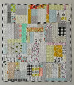 Quiet Scrap Eater - modern patchwork, graphic, one of a kind baby / toddler quilt Strip Quilts, Scrappy Quilts, Easy Quilts, Small Quilts, Mini Quilts, Quilt Blocks, Patch Quilt, Quilting Projects, Quilting Designs