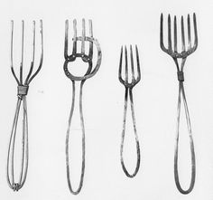 Some of the oversized metal forks sculptor Alexander Calder fashioned for his wife Louisa's kitchen on the spur of the moment. Sphinx, Wire Art, Kitchen Utensils, Kitchen Tools, Land Art, Cutlery, Sculpture Art, Metal Working, Tableware