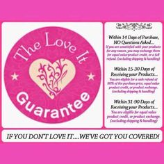 If you don't 100% love our products we have 'The love It' Guarantee, where you can return within 14 days and get a refund...What have you got to lose? www.youniqueproducts.com/TorrieShepherd