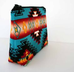 Large Turquoise Makeup Bag - Southwestern - Navajo Fabric - Tribal