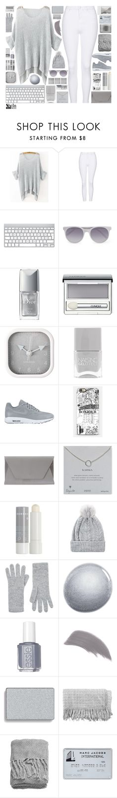 """""""SheInside Grey Loose Sweater"""" by xgracieeee ❤ liked on Polyvore featuring Topshop, Holga, Prism, Christian Dior, Clinique, Karlsson, Nails Inc., NIKE, Noee and Dogeared"""