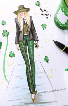 #StPattysDay by ☘@rongrong_devoe_illustration| Be Inspirational ❥|Mz. Manerz: Being well dressed is a beautiful form of confidence, happiness & politeness