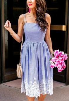 Perfect Stripe Embroidered for Spring #springstyle #springfashion #dress