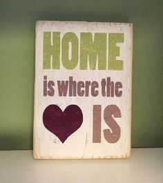 Home Is Where The Heart Is Wooden Sign Plaque Shabby Chic Art Present | eBay