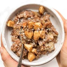 cinnamon apple breakfast quinoa recipe with apples and coconut on top