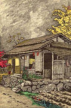 "Japanese Art Print ""House at Okutama"" by Kasamatsu Shiro. Shin Hanga and Art Reproductions http://www.amazon.com/dp/B012I4U8UM/ref=cm_sw_r_pi_dp_XjXvwb1Q2FYEB"