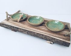 """Small green rustic bowls, set of 3 pinch bowls, ceramic drinking bowl, stoneware sauce bowl set, tapas plate Set of 3 ceramic bowls from the """"Winter Wonders"""" collection by VIBceramics in Speckled Green Gray White o Ceramic Spoons, Ceramic Plates, Tapas, Rustic Dinnerware, Teller Set, Rustic Bowls, Rustic Ceramics, Ceramic Jewelry, Handmade Pottery"""