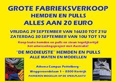Fabrieksverkoop hemden en pulls -- Kortrijk -- 29/09-30/09