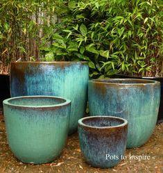 Large Glazed Aqua U Pot Planters Large Garden Planters, Large Ceramic Planters, Large Plant Pots, Painted Plant Pots, Large Flower Pots, Ceramic Plant Pots, Ceramic Flower Pots, Planter Pots, Woodside Garden Centre